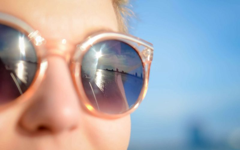 sunglasses on a bright sunny day