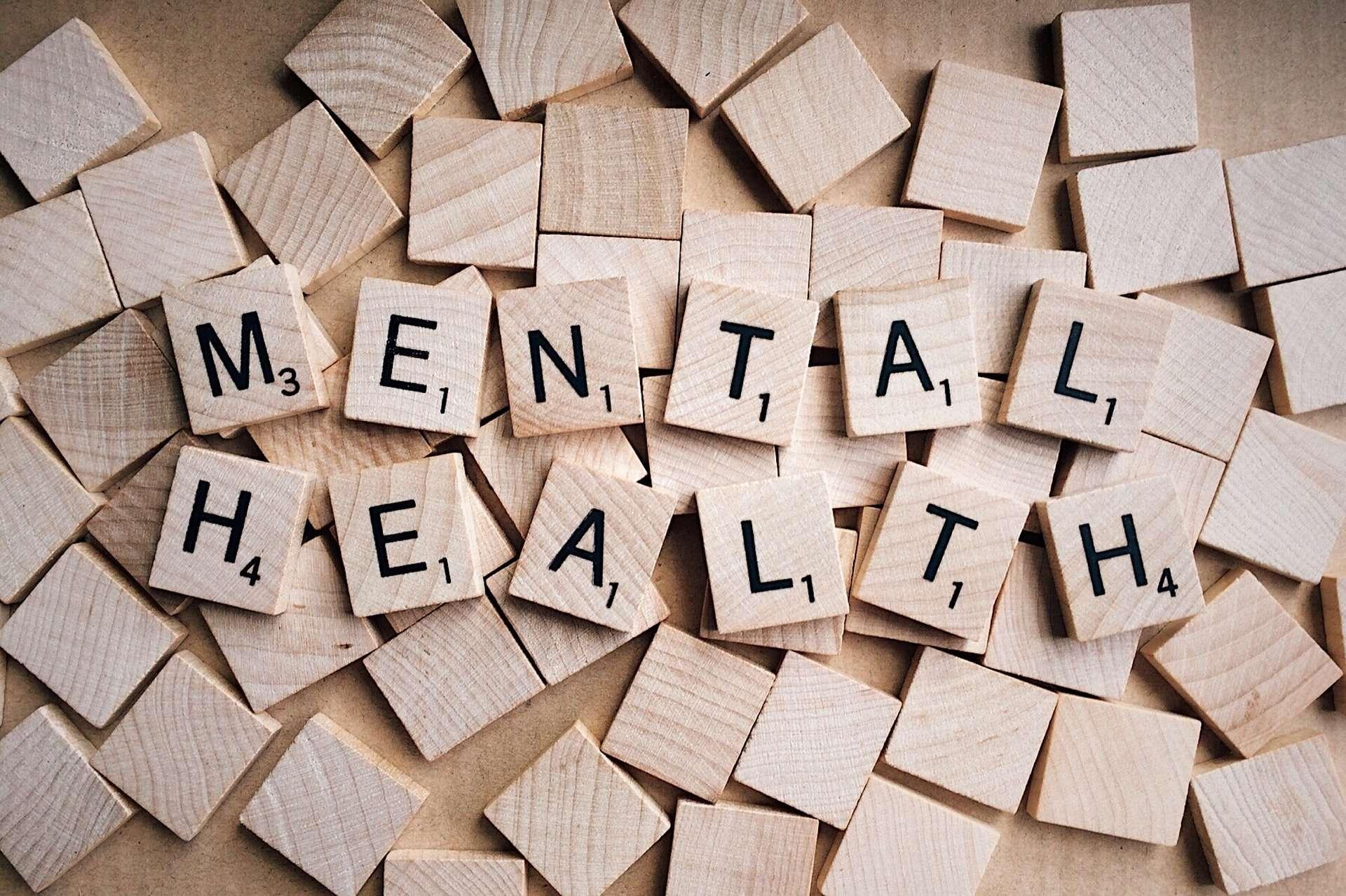 scrabble pieces of mental health