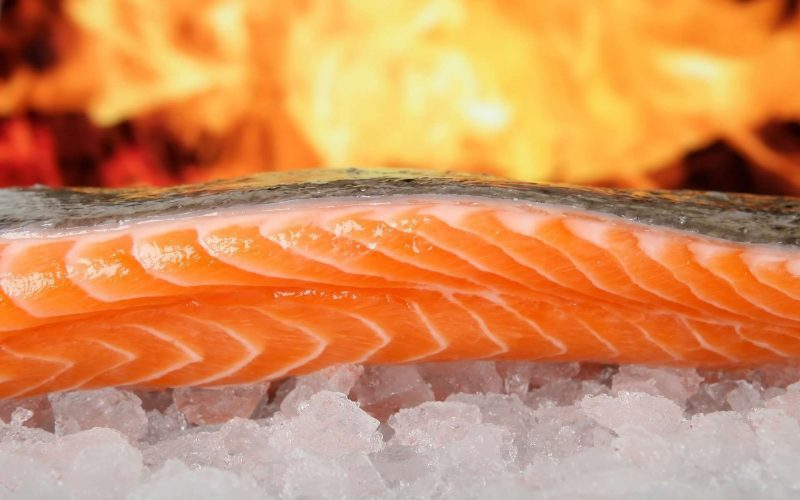 fire grilling fish